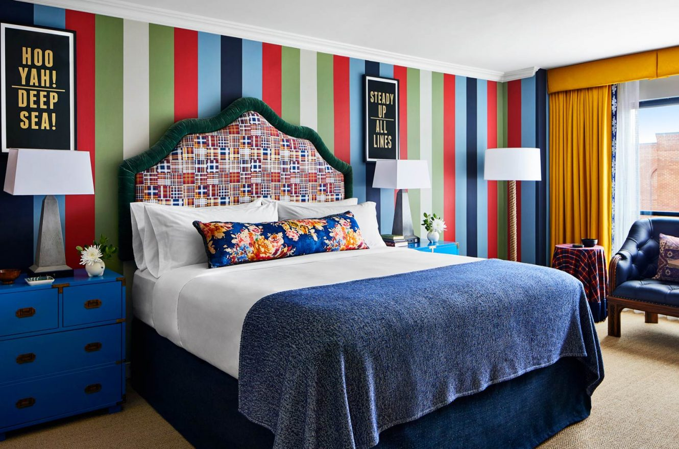 King size bed in colorful room