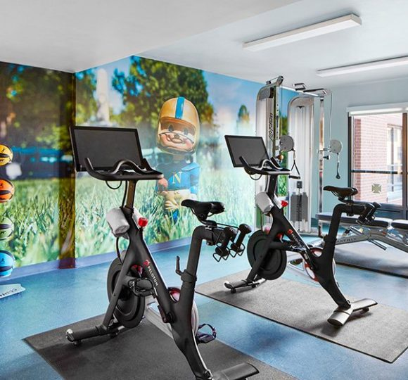 Fitness gym with Peloton bikes