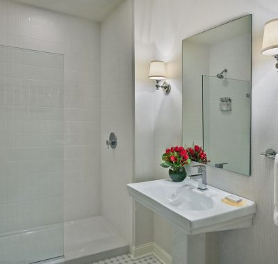 guest bathroom with glass shower wall and a mirror on the wall