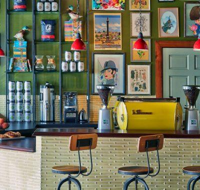 the coffee bar at ironworks coffee