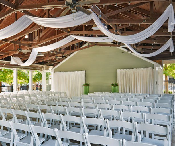 outdoor wedding ceremony setup at graduate athens