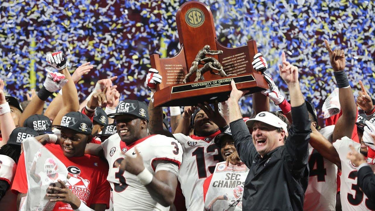 Georgia Bulldogs football team celebrating the SEC Championship win in 2017.