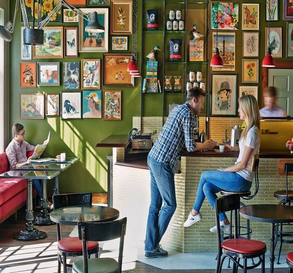 couple sitting at a coffee bar