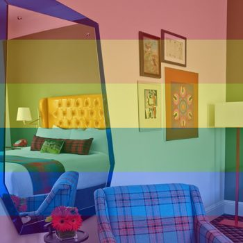 Rainbow over a photo or our guestroom