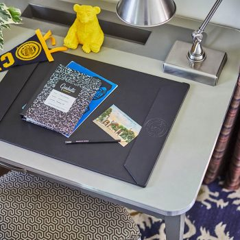 work desk with university of cal items