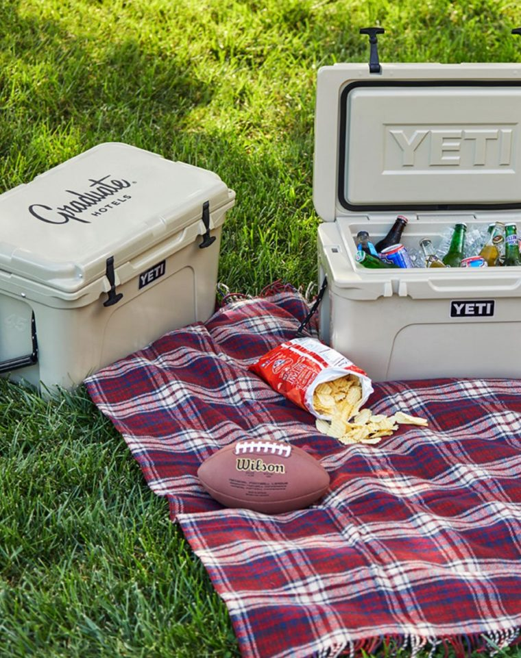 football and cooler on a picnic blanket