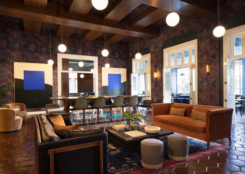 Hotel lobby sofa