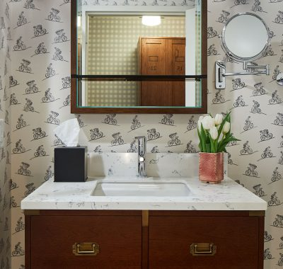 Bathroom with bicycle wallpaper