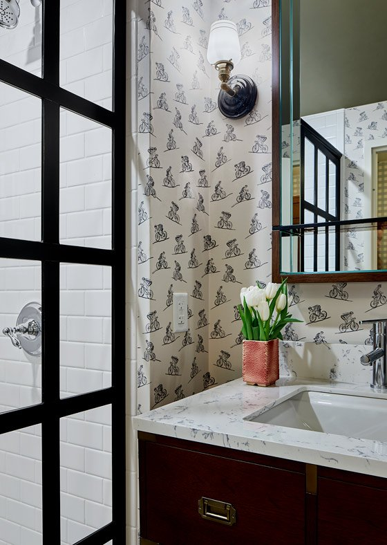Bathroom shower and bicycle wallpaper