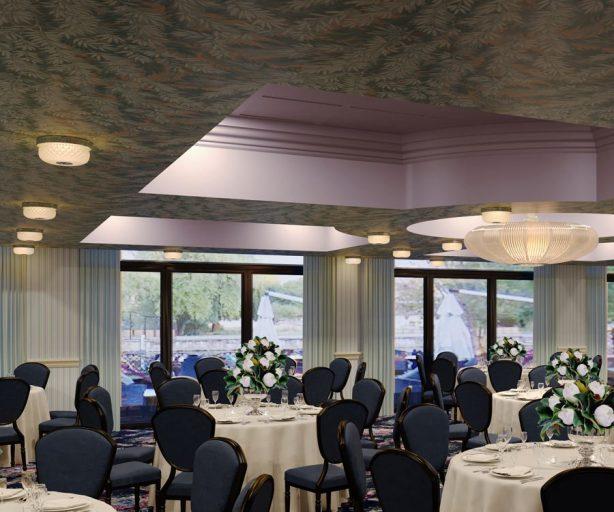 Ballroom set up for a banquet
