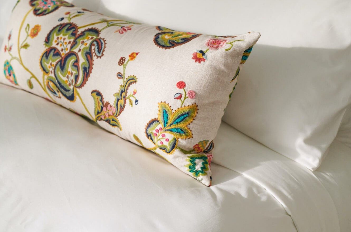 detail on guest bed pillows