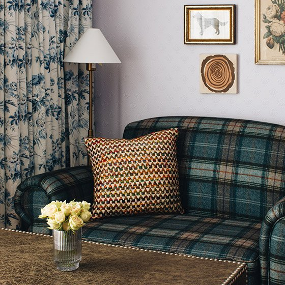Plaid couch and coffee table