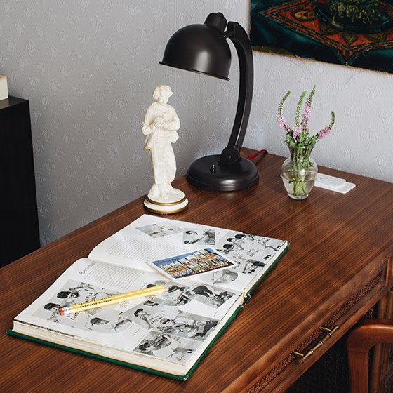 Desk with lamp and magazine