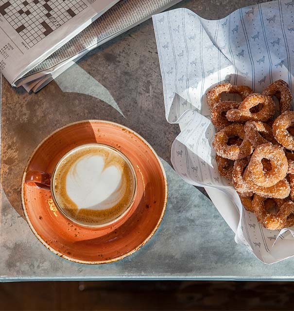 Breakfast Coffee and donuts available at Sheepdog Café