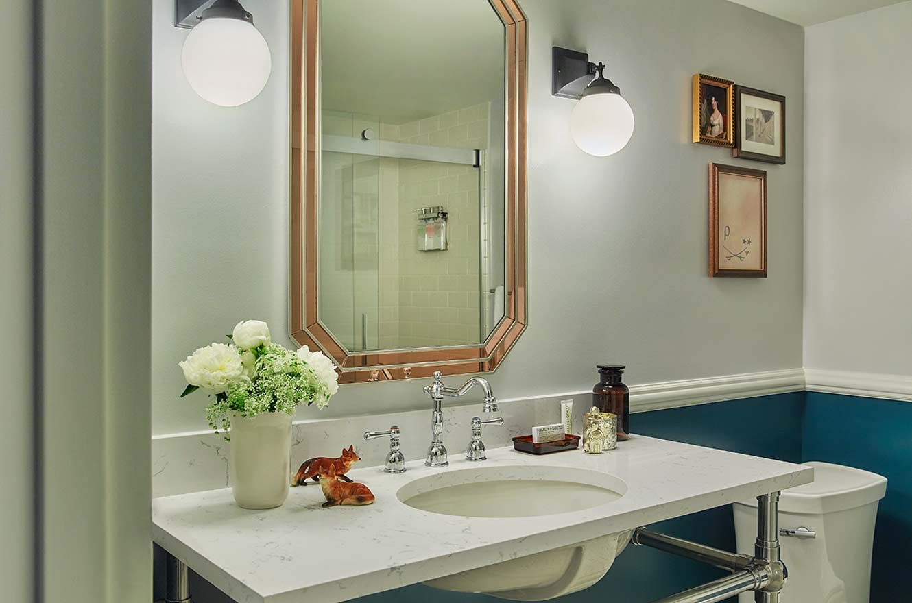 Luxury bathroom with unique wall and decorative features