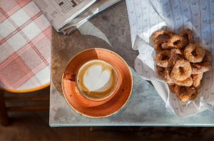 Breakfast Coffee and donuts at Sheepdog Café
