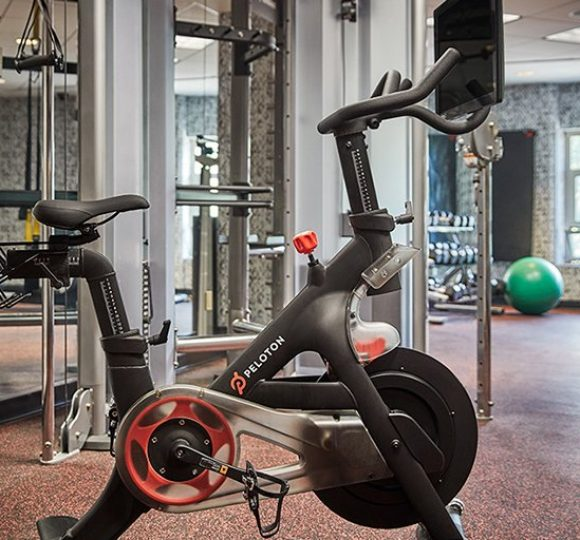 A Peloton bike in the 24-hour fitness center