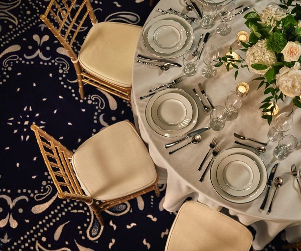 A dining table setup for a banquet