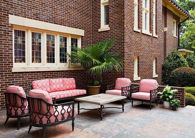 Outdoor furniture on the hotel's patio area