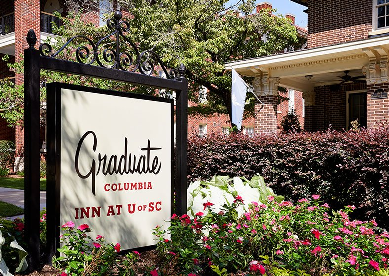 Curbside signage for Graduate Hotels Columbia