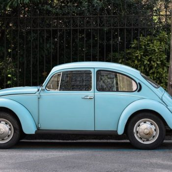 A blue Beatle car