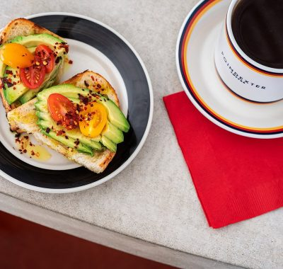 Avocado toast with coffee