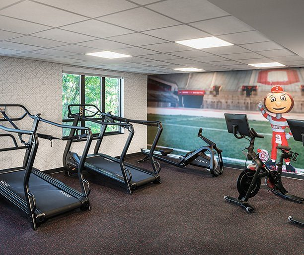 Gym with treadmills and other equipment