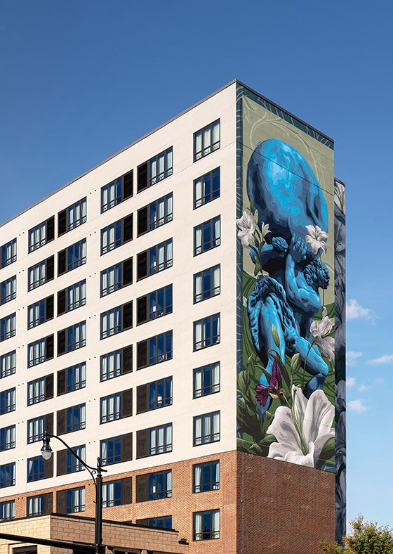 Hotel exterior with mural