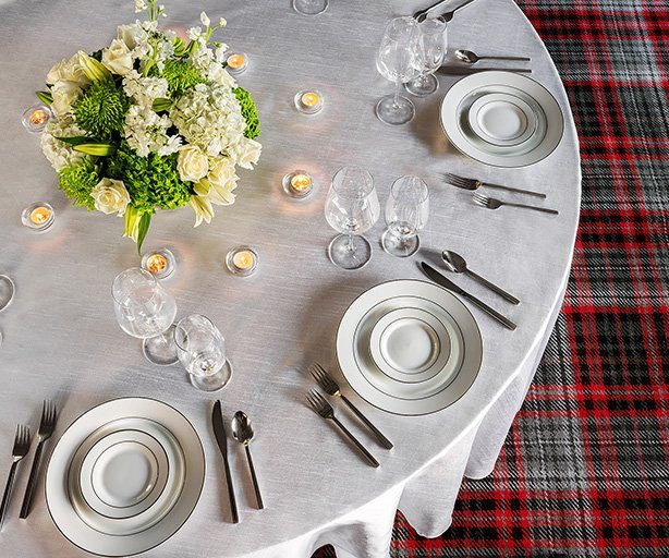 Formally set dining table