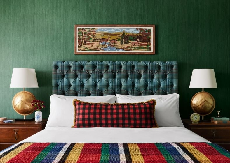 cozy bed green headboard