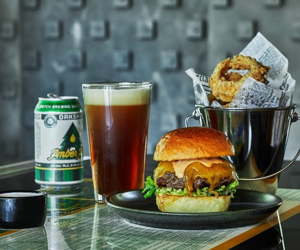 Burger Beer and Onion Rings