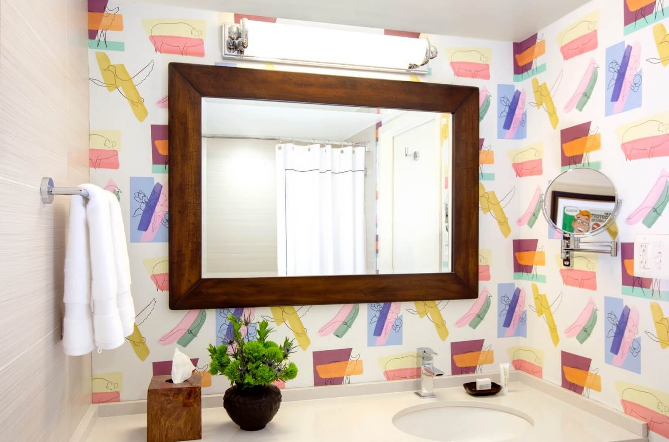 Bathroom Mirror in colour-full bathroom