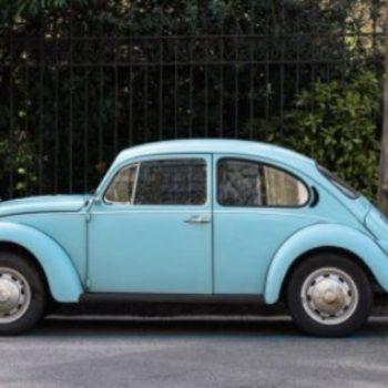 light blue Volkswagen Beetle