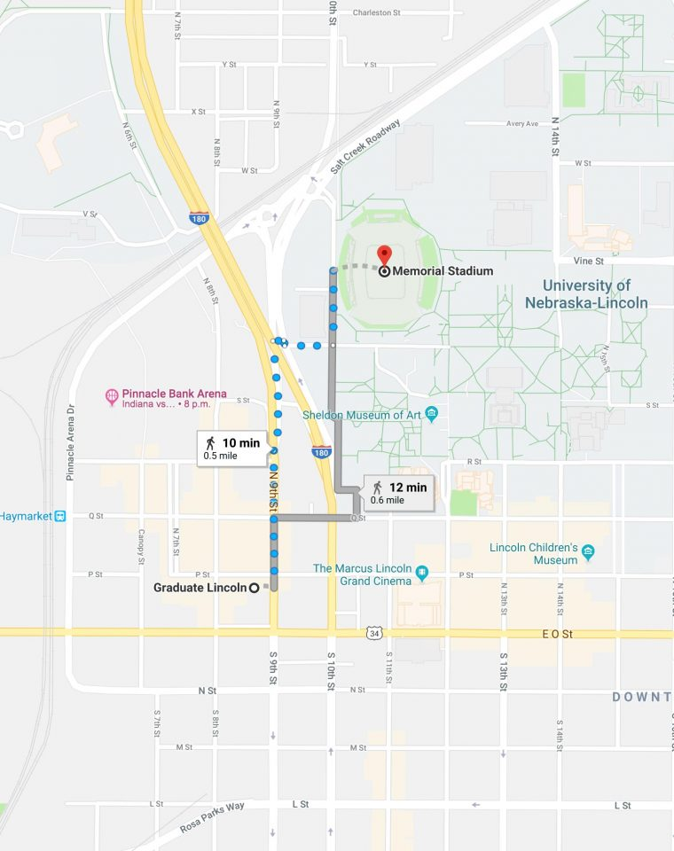 walking directions from graduate lincoln to football stadium