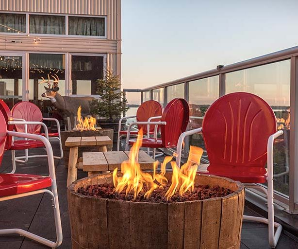 rooftop fire pit at graduate madison