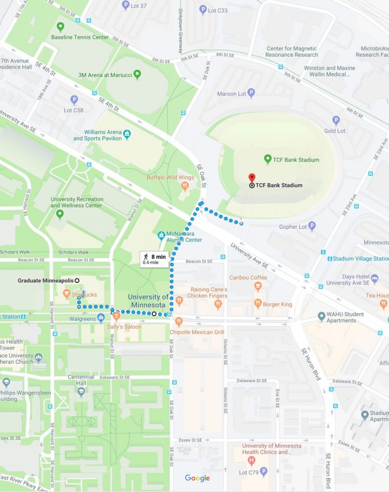 map of walking directions from graduate minneapolis to tcf bank stadium