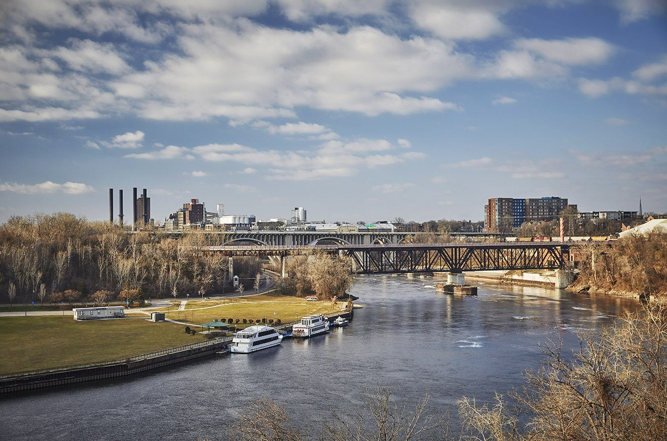 A river view of the Twin Cities