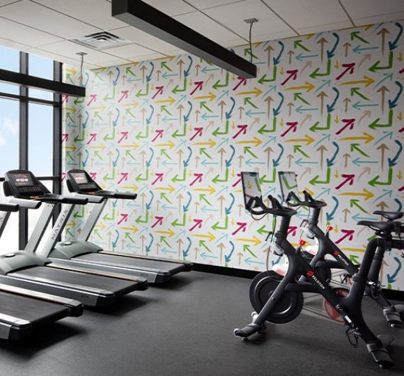 The fitness center at Graduate Nashville