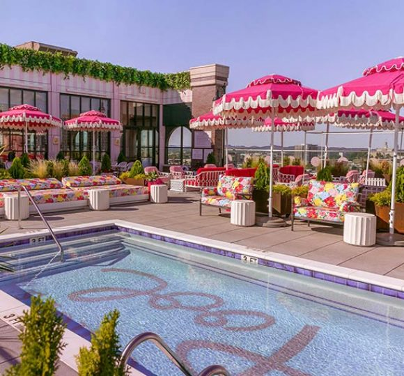 The rooftop pool at Graduate Nashville