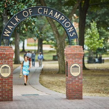 woman walking on the campus of ole miss