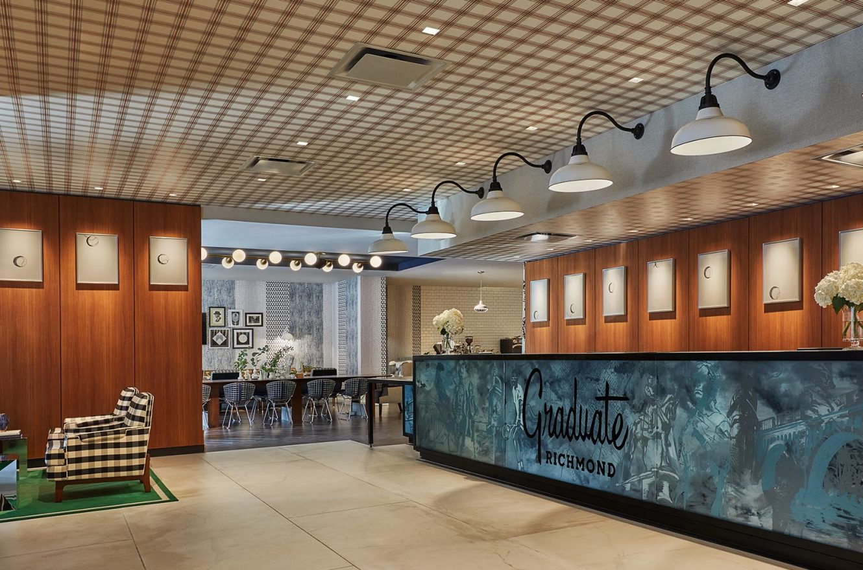 Lobby entrance of the Graduate Richmond