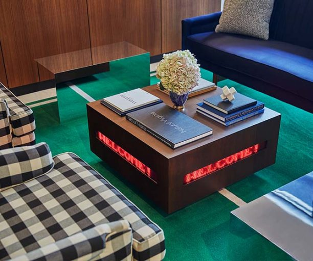 Lobby coffee table at Graduate Richmond