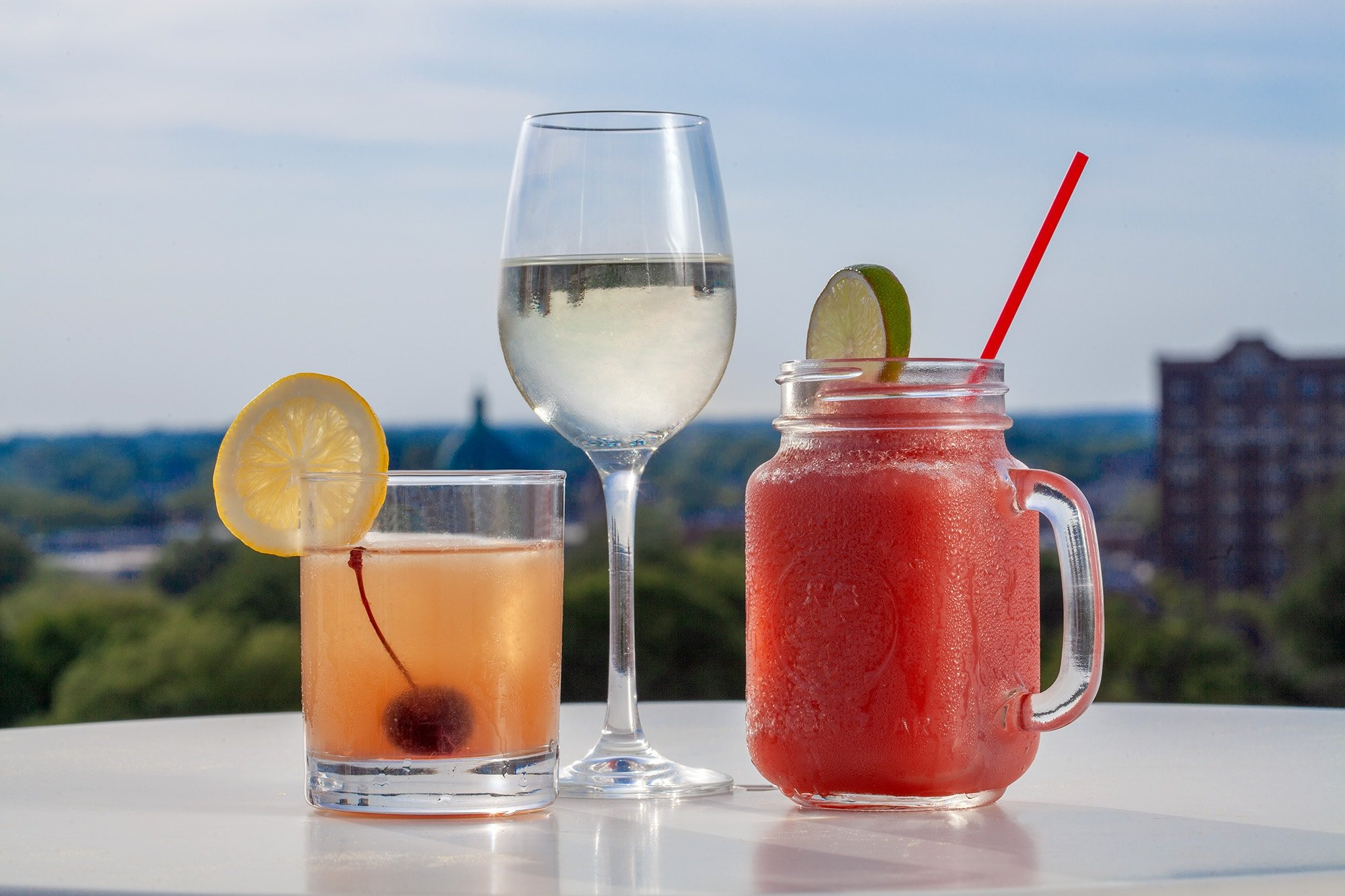 Cocktails with a view of the city skyline