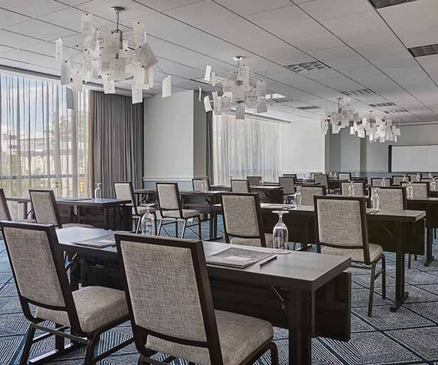 Sixty ballroom with conference setup at Graduate Richmond