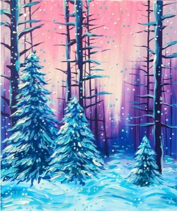 Painting of Winter Forest