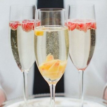 glasses of champagne on a tray