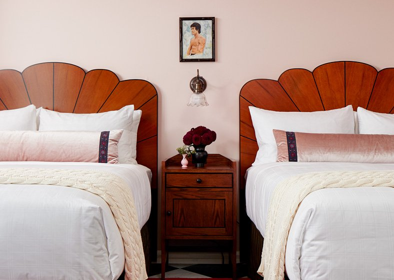 two queen beds in graduate seattle guest room
