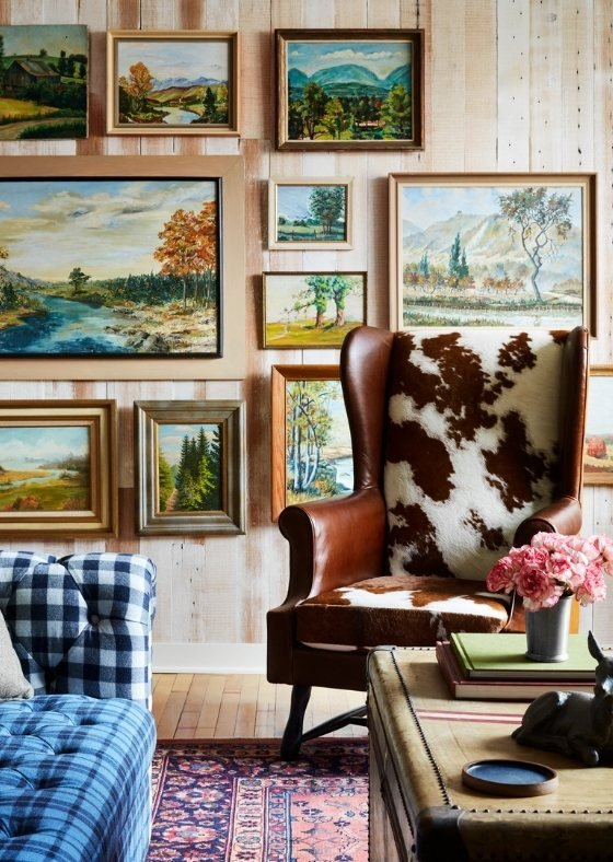 gallery wall of Connecticut country side paintings