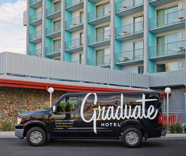 Graduate hotels shuttle outside the hotel