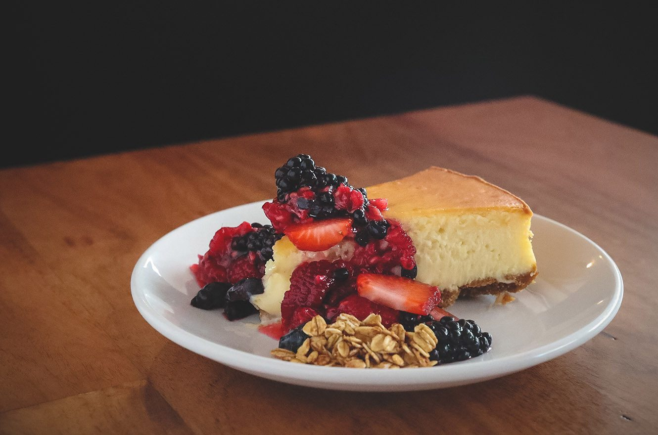cheesecake with berries on top